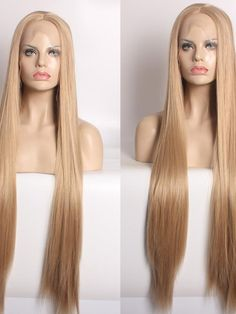 Super Long Hip Length Natural Blonde Synthetic Wigs - All Synthetic Wigs - EvaHair Lob With Bangs, Blunt Bangs, Wigs With Bangs, Synthetic Lace Front Wigs, Synthetic Wigs, Platinum Blonde Ombre, Straight Lobs, Cute Bangs, Silver Ombre
