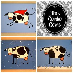 Blue Combo Cows ~ Set of acrylic cow paintings on by MadCowzArt, €41.00