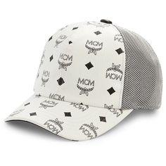 MCM Visetos Baseball Cap ($260) ❤ liked on Polyvore featuring men's fashion, men's accessories, men's hats, white, mens caps, mens hats, mens ball caps and mens baseball caps