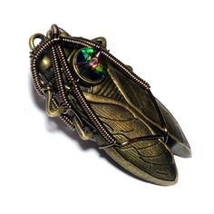 Steampunk Jewelry   Pin  Cicada with Vitrail by CatherinetteRings