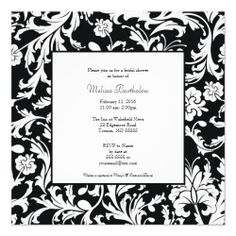 Black and White Damask Swirls Bridal Shower Custom Invites