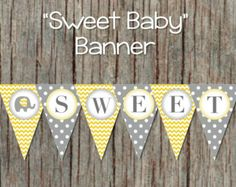 yellow and grey baby shower – Etsy