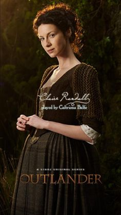 Claire's brown dress with floral stomacher, plaid skirt and knit shrug | Outlander on Starz | Costume Designer TERRY DRESBACH