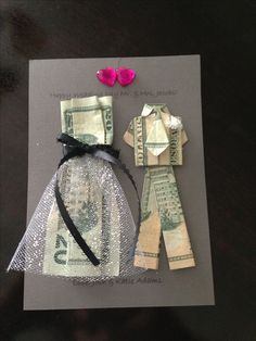 Origami dress, craft gifts, diy gifts, diy wedding gifts, money gift we Diy Wedding Gifts, Wedding Gifts For Couples, Bride Gifts, Trendy Wedding, Money Gift Wedding, Gift Money, Wedding Favors, Wedding Card, Dress Wedding