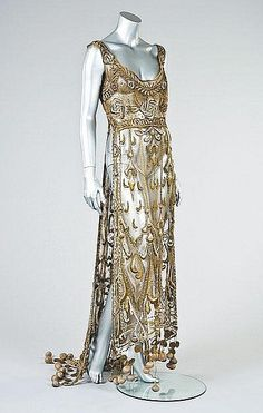 Embroidered Gold Tulle Tabard   1910-12