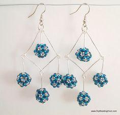 beaded bead chandelier earrings