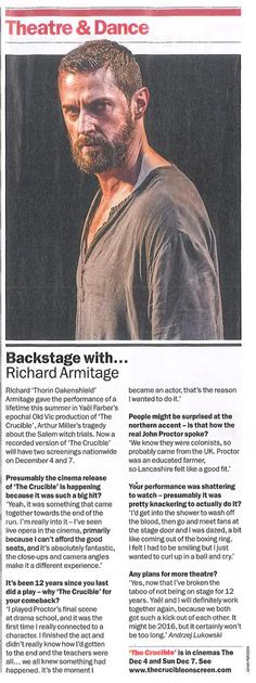 Interview with @RCArmitage in yesterday's Time Out. 2016—the wait will be worth it! @yfarber RICHARD PLANNING TO WORK WITH @farber again Does Broadway call ?