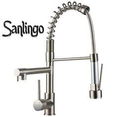 Design Gastrobrause Küchen Armatur Schwenkbar Spiral Edelstahl Optik Sanlingo