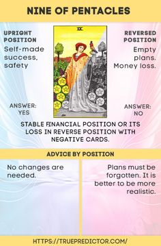Nine of Pentacles tarot card meanings — True prediction Tarot Interpretation, Tarot Cards For Beginners, Tarot Card Spreads, Tarot Astrology, Love Tarot, Tarot Card Meanings, Cartomancy, Pentacle, Tarot Decks