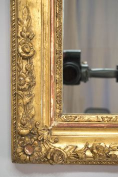 19th c. French gilded mirror with nicely detailed carved gesso flowers. Original mirror, wood backing. Gilt is bright and in very good condition.  35