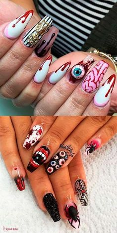 Best Halloween Nail Designs in 2018 Amazing Halloween nails acrylic coffin shaped ideasAmazing Halloween nails acrylic coffin shaped ideas Halloween Press On Nails, Halloween Acrylic Nails, Halloween Nail Designs, Cute Acrylic Nails, Acrylic Nail Designs, Cute Nails, Pretty Nails, Nail Art Designs, Halloween Ideas