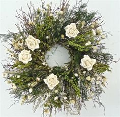 Wreaths For Door - White Paper Roses Twig Wreath, $59.99 (http://www.wreathsfordoor.com/white-paper-roses-twig-wreath/)
