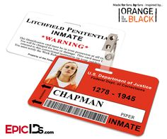 Orange is the New Black Inspired Inmate ID Card - Chapman, Piper
