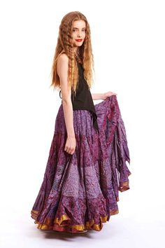 SILK GYPSY SKIRT, 25 yard vintage recycled sari skirt, bellydance boho festival skirt, tribal fusion clothing, mermaid long full gypsy skirt