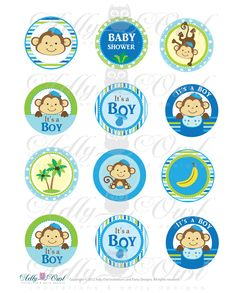 It's a Boy Monkeys  Cupcake Toppers or Favor Tags Printables for Baby Boy Shower DIY  - ONLY digital file - you print