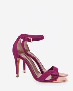 Suede ankle strap sandals - Deep Pink | Shoes | Ted Baker