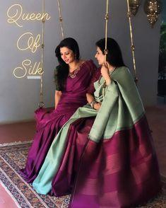South Indian Bride Saree, Indian Bridal Sarees, Bridal Silk Saree, Indian Silk Sarees, Saree Wedding, Trendy Sarees, Stylish Sarees, Simple Sarees, Mom Daughter Matching Dresses