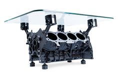 Included : Metal Engine Block Painting : Choose Color Glass Top x toughened Clear Grip Glass Support Delivery delay : weeks - Subject to availability *(All our products are unique and made for you; Engine Block Table, Engine Coffee Table, Car Furniture, Custom Furniture, Car Table, Office Wall Design, Ultimate Garage, House Deck, Ford Mustang Gt