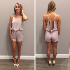 Another perfect, lavender romper! - $42 #romper #lavender #ootd #springfashion #openback #favorite #spring #apricotlanedesmoines #shoplocal #apricotlane