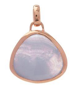Monica Vinader Rose Gold-Plated Blue Lace Agate Bezel Siren Pendant