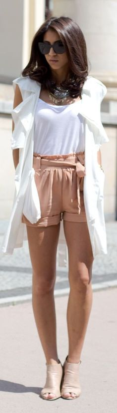 The Closet Lover Apricot Silk Rolled Cuff High Rise Shorts