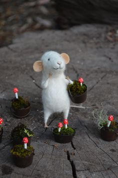 Little Gardener Mouse of the Moss - Felting Dreams - READY TO SHIP. $68.00, via Etsy.