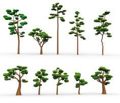 3D Model 10 Low Poly Cartoon Tree | Tree 3D Models | Tank - 3D Squirrel