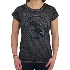 Women/'s The Flash Distressed Logo Fitted T-Shirt