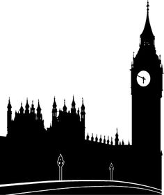 Illustration of a silhouette of Parliament and Big Ben... I'm about to try this but with a dry brush look!
