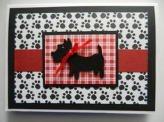 Black Scottish Terrier dog Handmade Greeting Card with paw prints - blank any occasion or to welcome a new dog