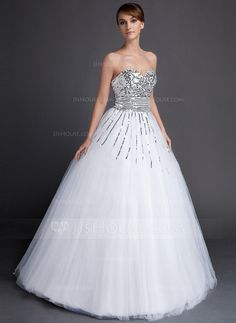 Quinceanera Dresses - $189.69 - Ball-Gown Sweetheart Floor-Length Tulle Sequined Quinceanera Dress (021015871) http://jjshouse.com/Ball-Gown-Sweetheart-Floor-Length-Tulle-Sequined-Quinceanera-Dress-021015871-g15871/?utm_source=crtrem&utm_campaign=crtrem_US_28010