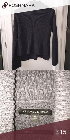 turtle neck greyish long sleeve turtle neck, cut out half way up the sides Kendall & Kylie Sweaters Cowl & Turtlenecks