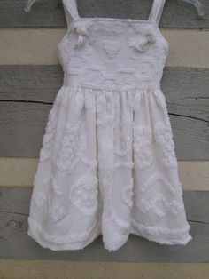 Girls white shabby chic vintage chenille cotton dress by dosew, $44.00