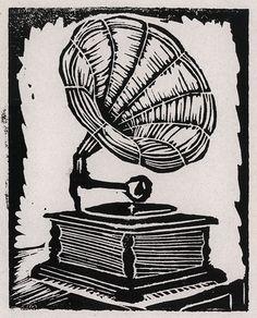 linocut gramophone