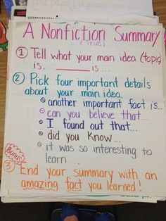 A Nonfiction Summary Anchor Chart; but change the transition words to be grade appropriate. 4th Grade Writing, 4th Grade Reading, Teaching Writing, Teaching Resources, Guided Reading, Teaching Ideas, Reading School, Close Reading, Summary Anchor Chart