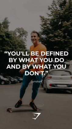 """""""You'll be defined by what you do and by what you don't.""""- Gymshark. Save this to your motivational board for a reminder! #Gymshark #Quotes #Motivational #Inspiration #Motivate #Phrases #Inspire #Fitness #FitnessQuotes #MotivationalQuotes #Positivity #Routine #HealthyMindset #Productive #Dreams #Planning #LifeGoals Motivational Board, Inspirational Quotes, Sport Inspiration, Good Vibes, Life Goals, Fitness Goals, Motivationalquotes, Quote Of The Day, Routine"""