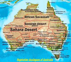 Places in the World that have similar climates to places in Australia. Vegetation Analogues of Australia Biome analogs of Australia Desert Map, Desert Life, Mojave Desert, Australia Weather, Australia Map, Geography Map, Physical Geography, General Knowledge Facts, Biomes