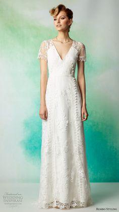rembo styling 2017 bridal lace cap sleeves v neck full embellishment vintage elegant column wedding dress lace back sweep train (jazz) mv