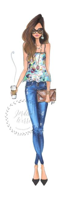 """Fashion Illustrations But first coffee fashion illustration by JordanWerre on Etsy - This girl is fashionable, and fierce (as long as she gets her coffee, first.) This is the perfect addition to an amazing closet or vanity - she is sure to boost your """" Arte Fashion, Ideias Fashion, Girl Fashion, Fashion Dresses, Womens Fashion, Paper Fashion, Illustration Mode, Fashion Illustration Sketches, Fashion Sketches"""