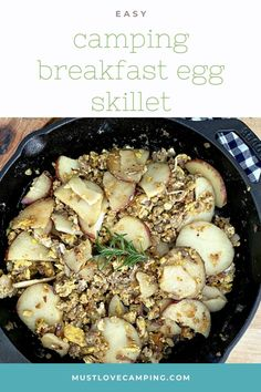 How to make a delicious and hearty camping skillet breakfast with eggs, potatoes and sausage over the fire or on the camp stove. A quick and easy one skillet meal to feed a hungry family. Easy Campfire Meals, Campfire Food, Camping Meals, Campfire Recipes, Egg Skillet, Breakfast Skillet, One Skillet Meals, Quick Meals To Cook, Make Ahead Meals