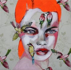 """Dare to be different6,"" orange portrait with birds by artist Patricia Derks available at Saatchi Art 