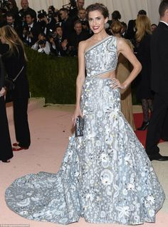 Glowing: Girls beauty Allison Williams sported a patterned ballgown with symmetric bodice...