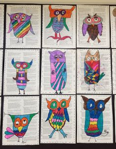 Owls with character on used book pages. Apex Elementary Art: Owl always love art