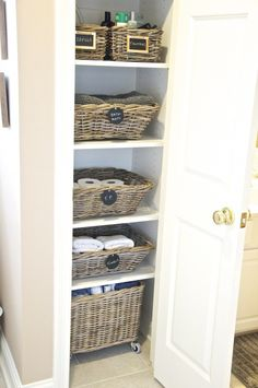 baskets organized in closet from home crush blog