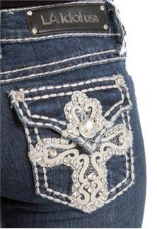 LA Idol Jeans Lace Overlay Cross Bootcut so cute Bling Jeans, Silver Jeans, Preppy Outfits, Cute Outfits, Preppy Clothing Brands, La Idol Jeans, Flying Monkey Jeans, Denim Branding, Cute Jeans
