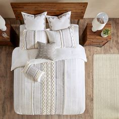 Great boho style neutral colored bedding.