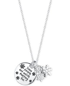 Disney Engraved Frozen Snowflake Pendant Necklace in Sterling Silver - Necklaces - Jewelry & Watches - Macy's