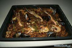 Fideuá de marisco al horno Fırın yemekleri - Fırın yemekleri - Las recetas más prácticas y fáciles Le Chef, Saveur, Rice, Chicken, Meat, Paella, Food, Ali, Party