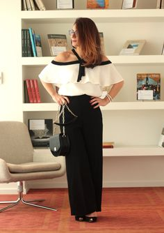 The Cold Shoulder Top | Off the Shoulder top paired with wide legged crepe pants– MODE DELINA