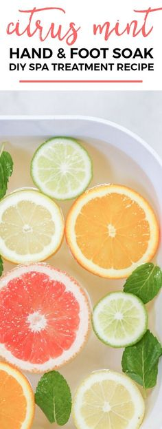 How to create a luxurious DIY spa night at home This citrus mint hand and foot . How to create a luxurious DIY spa night at home This citrus mint hand and foot bath is the perfect place to Home Foot Soak, Diy Foot Soak, Foot Soaks, Hand Soak, Pedicure Soak, Pedicure At Home, Pedicure Tips, Ashley Brooke, Diy Beauty Treatments